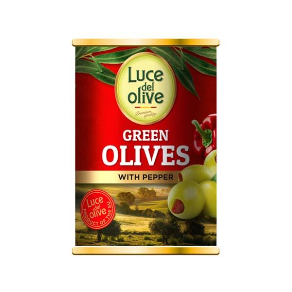 5425032882397 Olīves zaļas ar papriku Luce del Olive 300ml KG 0.3